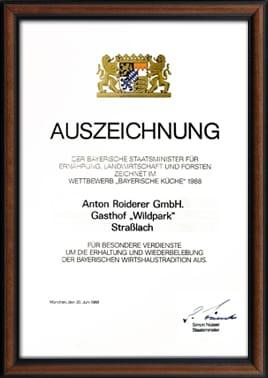 Auszeichnung Bayerische Küche 1998