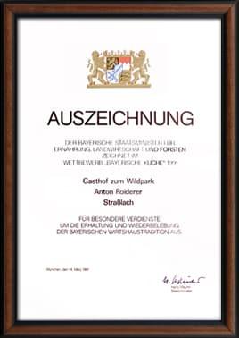 Auszeichnung Bayerische Küche 1991