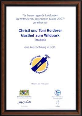 Auszeichnung Bayerische Küche 2007