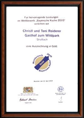Auszeichnung Bayerische Küche 2010