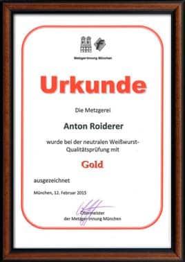 Urkunde Weißwurst Qualitätsprüfung Gold