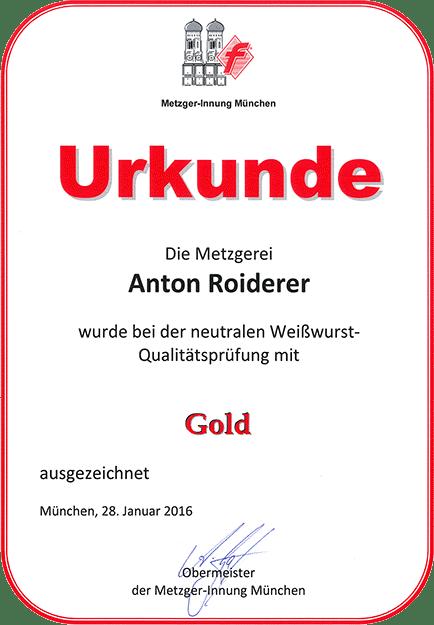 Urkunde in Gold Weißwurst Qualitätsprüfung