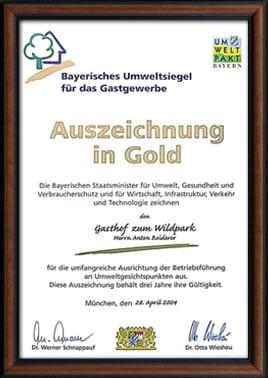 Auszeichnung Gold 2004