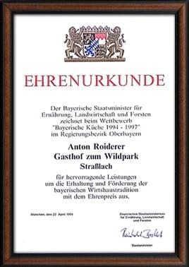 Ehrenurkunde Bayerische Küche 1994 - 1997