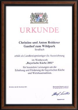 Urkunde Bayerische Küche 2001
