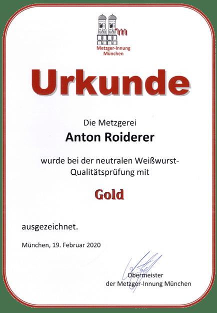Gasthof zum Wildpark - Gold für Weißwurst 2020